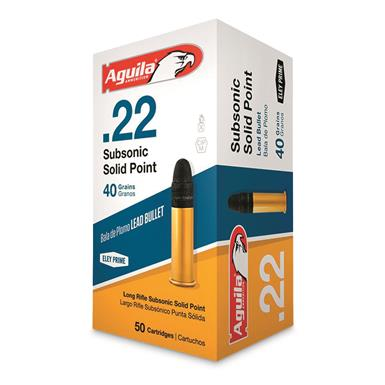 Aguila Subsonic Solid Point, .22LR, LRN, 40 Grain, 500 Rounds